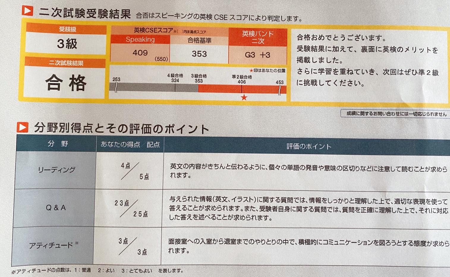 英検3級テスト結果